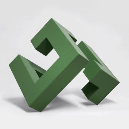 PICTOCLUB Sculptures - WOODEN DIAGONAL CUBE - Josecho López Llorens