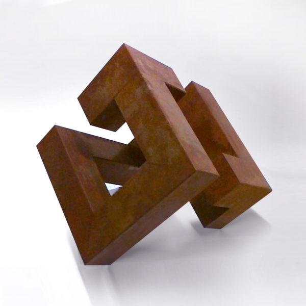 PICTOCLUB Sculpture - RUSTED DIAGONAL CUBE - Josecho López Llorens