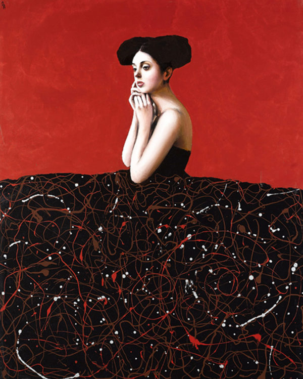 PICTOCLUB Painting Photographs - THOUGHTFUL RED MENINA - Alfredo Palmero