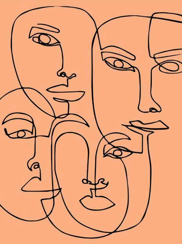 PICTOCLUB Painting - FACES SKETCH - Pictoclub Originals