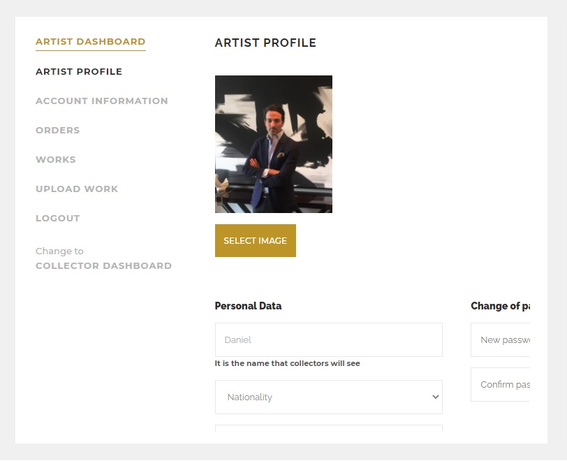 PICTOCLUB Artist Profile page