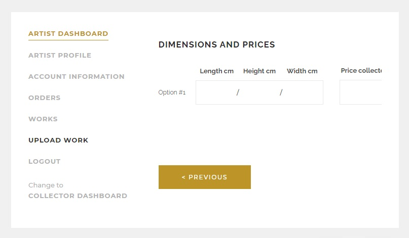 PICTOCLUB Dimensions and Prices of the Artworks