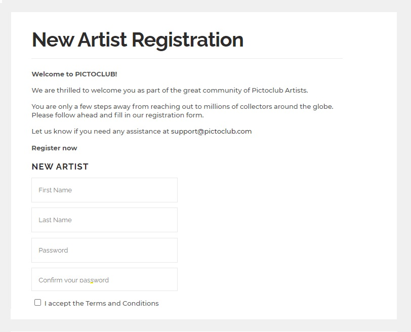 PICTOCLUB New Artist Registration Form